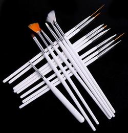 Wholesale Cheap Paint Brushes Wholesale - Wholesale-Free shipping 15pcs Cheap professinal Nail Art Brush Set Design Painting Pen Polish Brush Set natural false and 3D Beauty