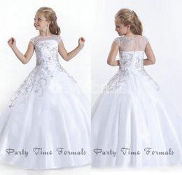 Wholesale Sizes 13 Dress - Cheap Crystal Short Sleeves Girls Pageant Dresses 2016 White Flower Girl Dresses Gowns Little Girls Pageant Dresses Size Little Girls Gowns