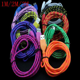 Wholesale Colorful 1m Micro Usb - Colorful 1M 3FT 2M 6FT 3M 10FT Fabric Nylon Braided Micro USB Cable Charging Charger Cable For Samsung Smart Phone