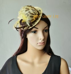 Wholesale Sinamay Mini Hats - Leopard print mini hat sinamay feather fascinator for kentucky derby.