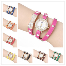 Wholesale Ladies Wrap Watches - Fashion Bowknot Wrap Women Watches Lady Leather Wrist Watches Diamonds Bowknot PU Band Round Dial Quartz Movement Charming Bracelets Watches
