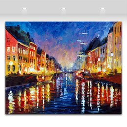 Wholesale Old Canvas Paintings - Old Harbor & Palette Knife Oil Painting Landscape Style Printed On Canvas Riverside Scenery Works