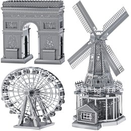 Wholesale Triumph Models - DIY Metal Works Model Kits 3d Laser Cut Jigsaw Puzzle Toy Landmark Series Holland Windmill and Ferries Wheel and Arch of Triumph