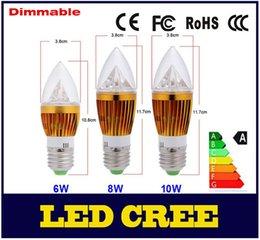 Wholesale Cree Blub - 2015 NEW Golden High Power Candle Light Bulb E27 AC85-265V 6W 8W 10W Lamp Chandelier Spotlight Bulbs Pure White Warm White Blub