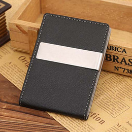 Wholesale Mens Passport Holder - Wholesale- Mens Thin Leather Slim Magic Credit Card ID Holder Money Clip Wallet HOT