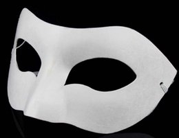 Wholesale Paper Matches - DIY Any painting Drawing Board Solid White DIY Zorro Paper Mask Blank Match mask painting freedom of imagination 30pcs