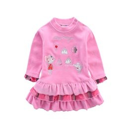 Wholesale Dress Child Garment - baby girl pleated dress velour children dresses kids clothing cute infant garments newborn clothes apparel child maternity kid girl skirts