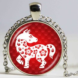 Wholesale Tiger Crystal Necklaces - Chinese Zodiac Necklace Year of the Rat Ox Tiger Rabbit Dragon 12 Constellation Silver Pendant Charm Accessories Birthday Gifts