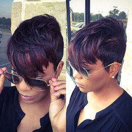 Wholesale Black Pixie Wig - Short Straight Wigs Synthetic Ladys Hair Wigs Rihanna Style New Stylish Black Women Africans American Pixie Cut None Lace Fashion Bangs