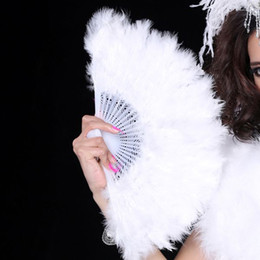 Wholesale Folding Stove - 28 Folding Staves Handmade Marabou Feather Fan Feather Craft For Dancing Wedding Feather Fan for Show Girl