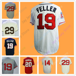 Wholesale Polyester Bobs - Cooperstown Jersey Larry Doby Bob Feller Satchel Paige St.Louis Frank Robinson Jerseys Vintage Home Away White Blue Cream Grey Red