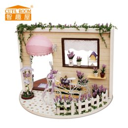 Wholesale Lavender Girl Doll - Wholesale- Cute Room Toys for Girls Doll House Puppenhaus Brithday Miniature Furniture House Toys for Children Wooden House -lavender