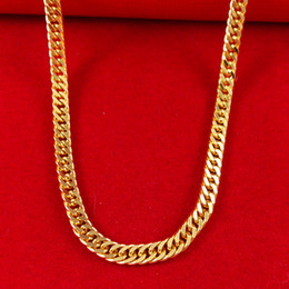 Wholesale Massive Necklaces - Fashion jewelry Massive 18k yellow Gold Filled Men's Necklace wide 4.5mm Double Soid Euro Curb Chain 21inch