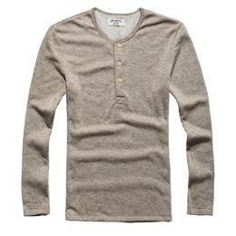 Wholesale Shirt Military Fashion - New Fashion Men Tee Long Sleeve Henley Shirts Military Casual T-shirt Top men Clothes lycra cotton t Shirt