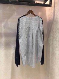 Wholesale Ladies Navy Blouses - Blouses Women Patchwork Blouses Female Ladies Navy Shirt Women Crew Neck Collar Top Fashion Casual Shirt