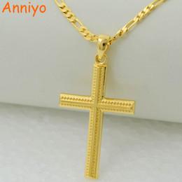 Wholesale Christian Gold Pendants - Anniyo women cross gold color charms pendant necklace men fashion christian jewelry factory wholesale crucifix god