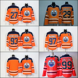 2017-2018 Season Edmonton Oilers Jerseys  29 Leon Draisaitl  97 Connor  McDavid  99 Wayne Gretzky Blank Orange Hockey Jerseys Free Shipping e5b586383