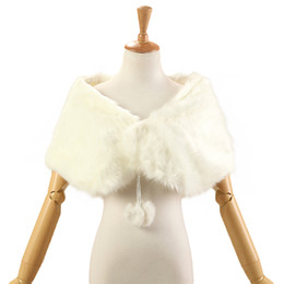 Wholesale Faux Fur Shrugs - Cheap Bridal Wraps Fake Faux Fur Hollywood Cheap Stock Wedding Jackets Outdoor Cover up Cape Stole Coat Shrug Shawl Bolero