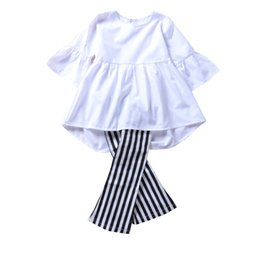 Wholesale 18 month winter dress - Spring baby girl clothes retro outfits white top+pants 2pcs set striped bell-bottom trousers kids girls clothing boutique dresses toddler