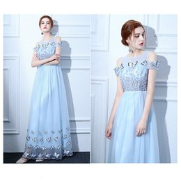 Wholesale Vintage Butterfly Picture - Evening Dress Elegant Light Blue Scoop Neck Short Sleeves Zipper Back A Line Floor Length Lace Tulle Butterflies Modern Party Prom Dress