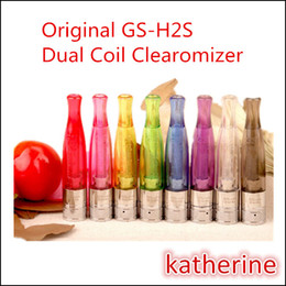Wholesale Gs H2 Bottom Coil Clearomizer - Bottom Dual Heating GS-H2S Clearomizer 1.5ml Dual Coils Updated GS H2 Atomizer for eGo E Cigarettes Vision 2 eGo-II 2200mah Twist Battery