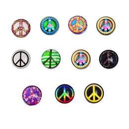 Wholesale Love Peace Charms - JACK88 36pcs lot Mix Styles High Quality Snap Button Charm 18 mm Peace Glass Button Fit Ginger Snap Button Jewelry N407