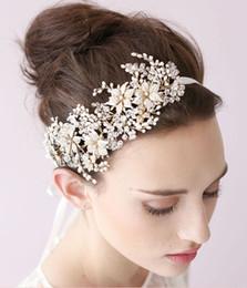 Wholesale vintage bridal headdress - 2015 Vintage Crystal Bridal Headpiece Headband Bridal Hair Flower Hair Flower Handmade Bridal Head Flower Headdress Wedding Tiaras TS00001A