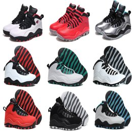 Wholesale M Powder - 2016 High Quality Air Retro 10 Men Basketball Shoes Steel bobcats powder blue bulls over broadway double nickel chicago sport sneaker Boots