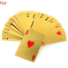 Wholesale 24k Cards - EUR Dollar Waterproof Plastic Playing Cards Gold Foil Poker Golden Poker Cards 24K Gold-Foil Plated Playing Cards Poker Table Games TK1352