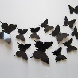 Pegatinas de pared Maravilloso Arte Diseño Decal Etiqueta de La Pared Decoración Del Hogar Negro azul rojo amarillo Decoraciones de la Habitación 3D mariposa boda decoración 12 unids / set desde fabricantes