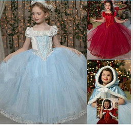Wholesale Baby Red Cape - Baby Girl Tutu Lace Ruffled Frozen Dress With Hoodie Cape Poncho Fleece and Lace Princess Puff Shoulder Christmas Party Dresses Baby Clothes