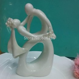 Wholesale Topper Cake Ceramic - Wedding Cake Topper Wholesale Ceramic Bride and groom Couple Dancing Figurines Wedding Cake Decorations Top Quality DHL Fedex