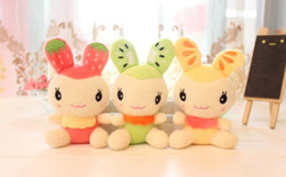 Wholesale Toy Wedding Bouquet - Wholesale- Sweet 2014NEW Fruit Rabbit 14CM DOLL Plush Stuffed Keychain TOY & BAG Pendant TOY BAG ; Wedding Bouquet TOY Gift DOLL