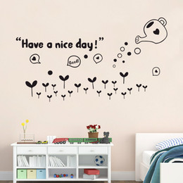 Wholesale Nice Packaging Design - Have a Nice Day Wall Quote Decor Sticker Black Flowers Sweet Home Lettering Art Mural Bedroom Living Room Wall Decor Poster Sticker
