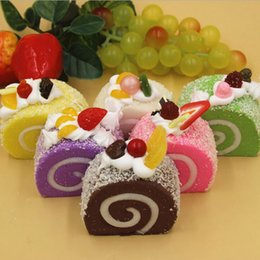 Wholesale Wholesale Toy Stores - Colorful Simulation Fruits Swiss Roll Artificial Squishy Slow Rising Kids Toy Home Kitchen Party Decoration Store Market Display