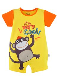 Wholesale Toddler Monkey Clothes - Baby & Kids Clothing Monkey Boys Clothes Summer Outfits Toddler tights one-pieces clothing 100% Cotton Top Quality-ZW88I