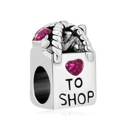Atacado ródio antigo saco de compras coração amor para comprar contas de cristal roxo fit pandora charme pulseira de