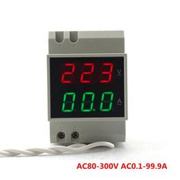 Wholesale Led Voltage Amp Meter - DIN RAIL Dual Led Display AC80-300V AC0.1-99.9A Digital Voltmeter Ammeter Volt Amp Meter Voltage Current Panel Meter