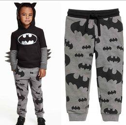 Wholesale Cotton Trouser Fabric - 2-8T kids Grey Batman Print Leggings Pants trousers Pile fabric cotton 5size sz 100-140 kids TOWEL leggings causual pants