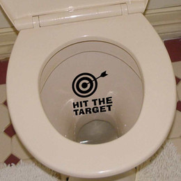 Wholesale Bathroom Bins - HIT THE TARGET Creative Wall Stickers for Bathroom Trash Bin Waterproof Quote