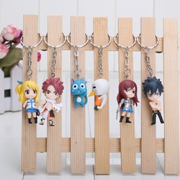 Wholesale Fairy Tail Anime Keychain - 3-5cm Fairy tail anime keychain used by pvc 6pcs set figures baby doll Retail