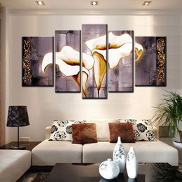 moderne große blumenmalereien Rabatt Hand painted Leinwand Ölgemälde grau Calla Lilie groß 5 Stück Leinwand Kunst billig Blume Bild moderne dekorative Wandkunst für Wohnzimmer