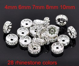 Wholesale 8mm Rhinestone Rondelle Beads - Fine Crystal Rhinestone Rondelle Spacer Charm Loose Beads Silver Plated Bulk Beads For Jewelry Making 100pcs Lot 4mm 6mm 7mm 8mm 10mm