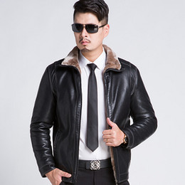 Wholesale Mens Fur Collar Top Coat - Fall-New 2015 Winter Mens Fur Stand Collar Thickening&Wool Windbreak Top Leather Jackets Men's Leather Coat Jaqueta De Couro M-3XL