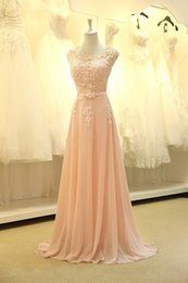 Wholesale Dresses For Bride Maids - Free shipping 201 Vestidos High quality nude back chiffon lace long peach color for sale cheap bridesmaid dress brides maid dress