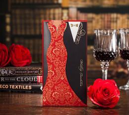 Wholesale Asiatique Asiatique Rouge Noir Paneled Invitations De Mariage Cartes Robe Costume De Couverture De Découpe De Papier Pullout Pièces Au Moins