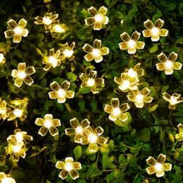 albero solare del fiore Sconti 50LED Solar Powered Peach Blossom Fairy Decorative String Light Xmas String 7M Per Giardino Prato Giardino Alberi di Natale