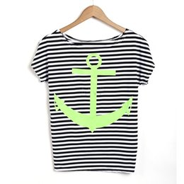 Wholesale Striped Dolman Tee - New 2015 Summer Style Fashion Navy Women Striped Anchor Print Short Sleeve T Shirts Bottoming Tops Tees 3 Colors 35