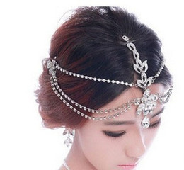 Wholesale Tiaras Crowns For Brides - Rhinestone Forehead Bridal Hair Accessories 2018 Luxury Wedding Hair Jewelry Tiaras Crowns For Brides Bridal Head Pieces In Stock