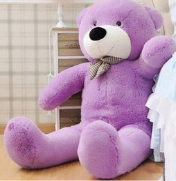 "Wholesale Bear Feet 12 - New arrival 6.3 FEET TEDDY BEAR STUFFED LIGHT BROWN GIANT JUMBO 72"" 160cm birthday gift purple 5 colour choose"